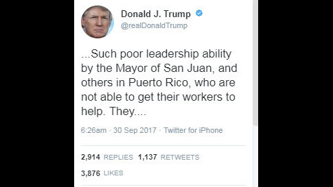 TRUMP TAKES TO TWITTER TO ATTACK MAYOR OF SAN JUAN