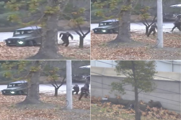 FOOTAGE OF NORTH KOREAN SOLDIER BEING SHOT AT WHILE DEFECTING FROM NORTH KOREA SURFACES(VIDEO)
