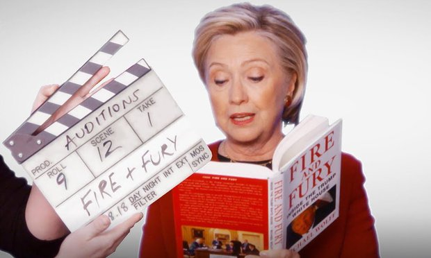 """HILARY CLINTON, JOHN LEGEND, CARDI B AND MORE AUDITION AS NARRATOR FOR """"FIRE & FURY"""" BOOK IN JAMES CORDEN SPOOF(VIDEO)"""