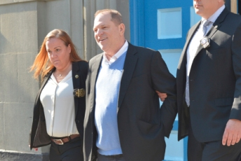 Media mogul Harvey Weinstein is seen leaving the NYPD 1st Precinct after surrendering himself in New York, NY on May 25, 2018. (Photo by Albin Lohr-Jones)(Sipa via AP Images)
