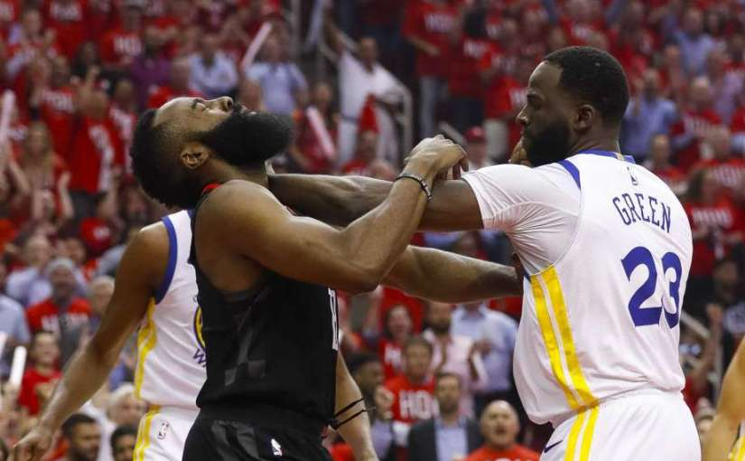 WARRIORS STRONG-ARM ROCKETS LATE AND TAKE GAME-1 OF WESTERN CONFERENCE FINALS 119-106